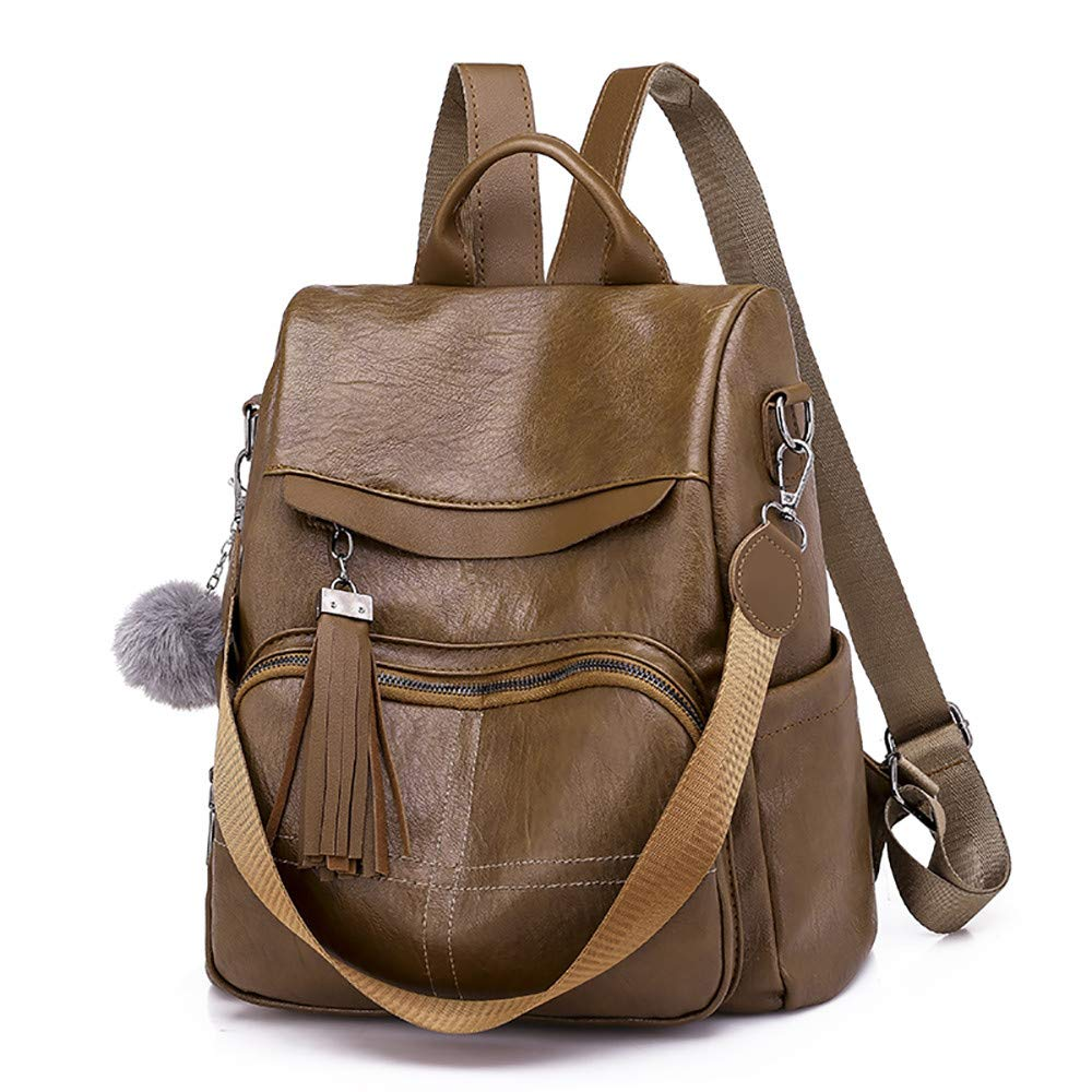 Amazon.com: Leather Anti Theft Travel Laptop Backpack Fringe Bookbag Purse Women Pom Pom Backpack Hiking Daypack: Shoes
