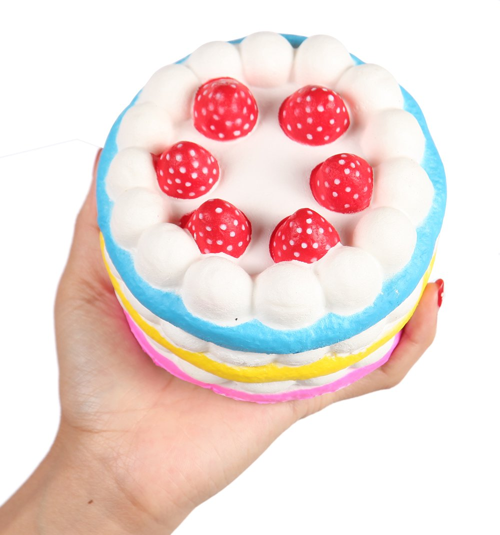 Anboor Squishies Jumbo Strawberry Cake Scented Slow Rising Kawaii Colorful Squishies 1Pcs DM029