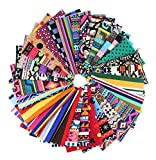RayLineDo® 15X Different Pattern Bohemia & Stripe Dot Style Canvas Patchwork Fabric Bundle Squares Of 20*25cm Quilting Scrapbooking Artcraft Project Collection One