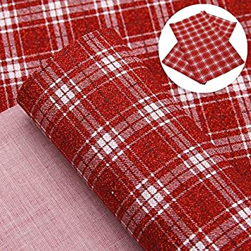 Christmas Tartan Fine Glitter Fabric Sheets for Bows and Crafts High Quality