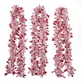 iPEGTOP 3Pcs x 6.6FT Hanging Tinsel Garland, Classic Christmas Wedding Party Holiday Tinsel Ornaments Christmas Tree Decorations, White & Red