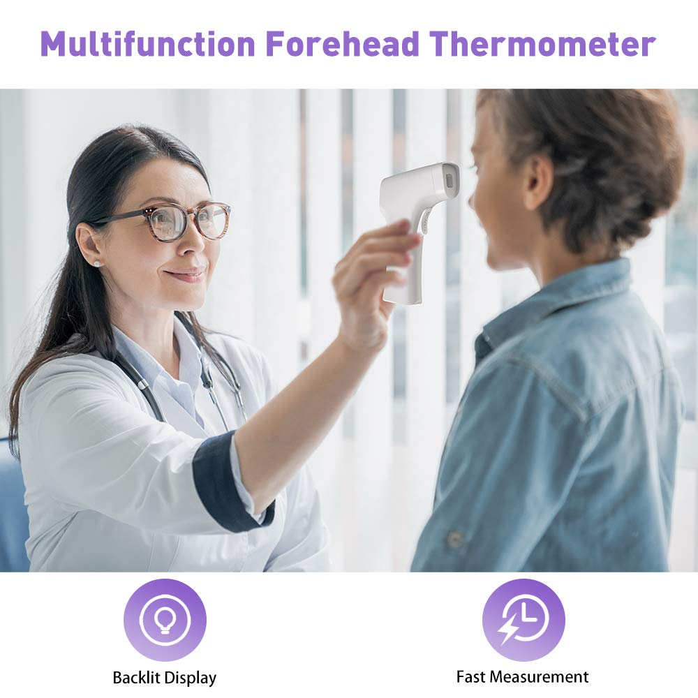 Forehead Thermometer Non Contact Medical Infrared Digital Temperature Accurate Instant Readings with LCD Display for Adults and Kids