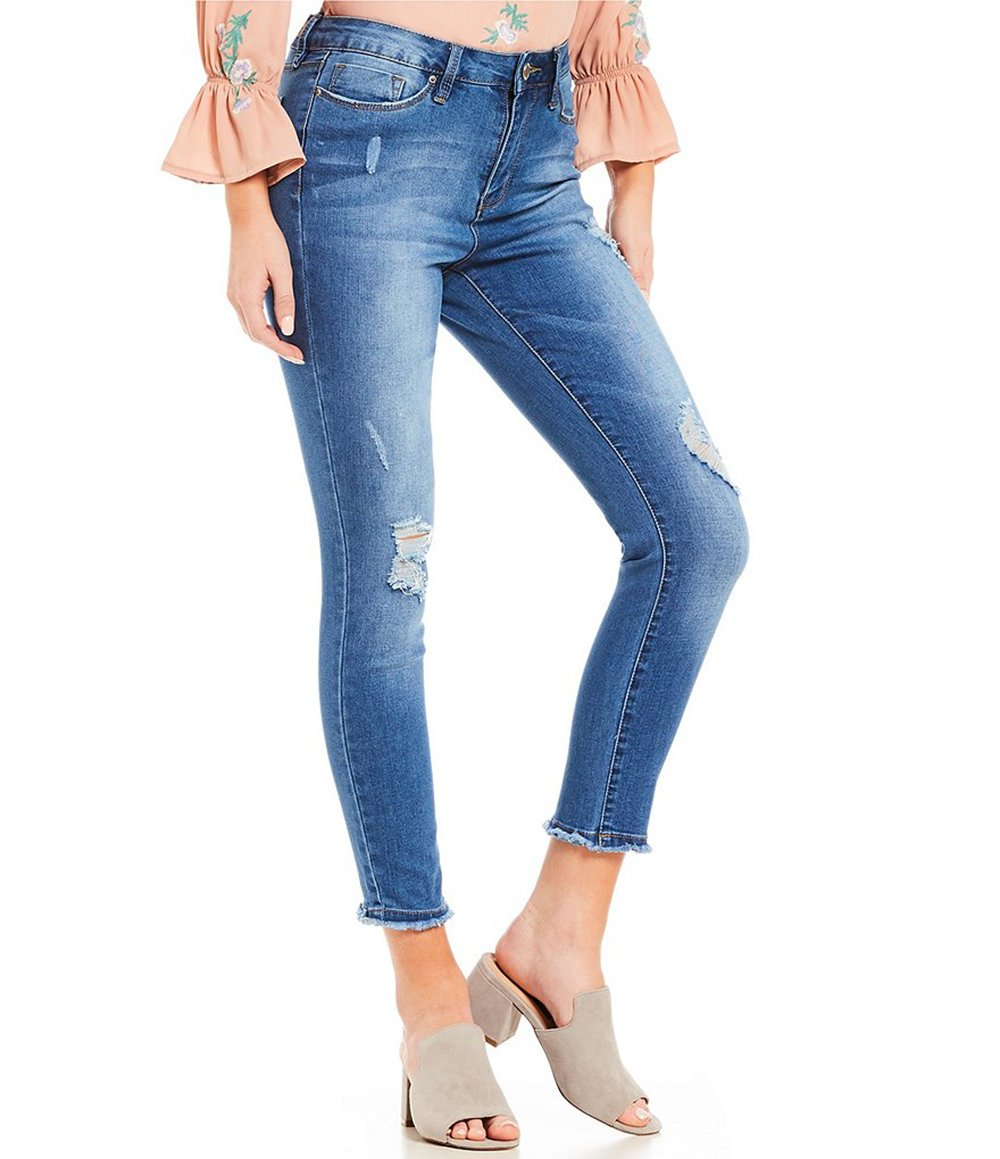 YMI Jeans Women's Hide Your Muffin Top Anklet (7, Rip&Tear)