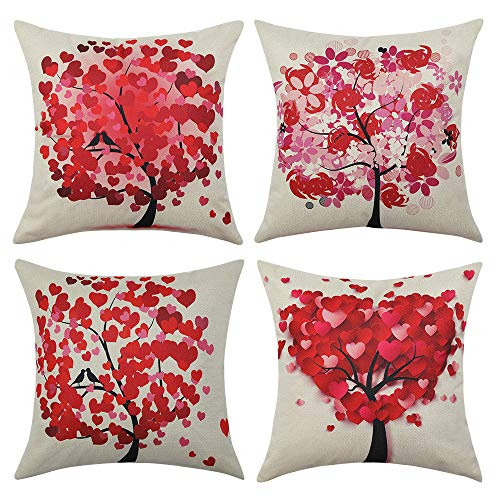 MIULEE Pack of 4 Valentine's Day Pillow Covers Trees Series Red Heart Love Pillow Covers Decorative Linen Square Throw Pillow Covers Couple Cushion Cases Home Decor for Sofa Bedroom Car 18x18 Inch