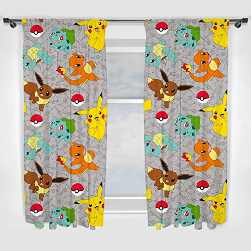 Pokemon Go Catch Character 1 Pair Ready Made Curtains 66