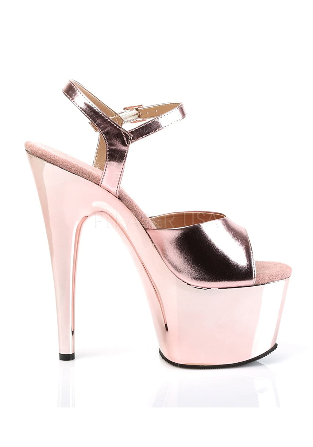 Pleaser ADORE-709 Damen Met. Plateau Sandalen Rose Gold Met. Damen Pu/Rose Gold Chrome 3b7317