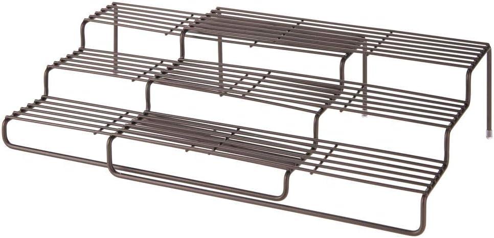Estante especiero extensible para mantener el orden en la cocina Mueble para especias de metal inoxidable con 3 niveles color bronce mDesign Estanter/ía para especias para muebles de cocina