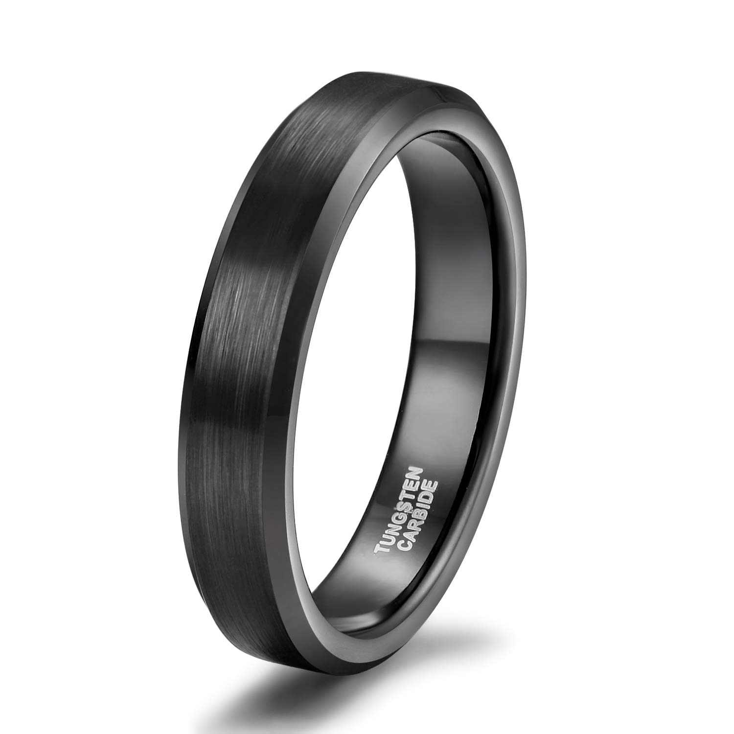 4mm 6mm 8mm Black Tungsten Carbide Ring Band for Men Women Beveled Edges Brushed Comfort Fit Size 4-15 (tungsten 4mm, 11.5)