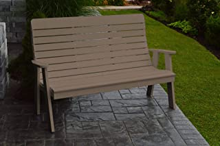 product image for Outdoor Winston Garden Bench - 5 Feet - Weathered Wood Poly Lumber