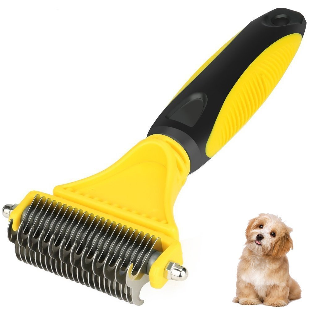 BAODATUI Pet Dematting Comb - Stainless Steel Grooming Brush for Small, Medium or Large Breeds Removes Mats, Tangles and Knots Easy and Gently.
