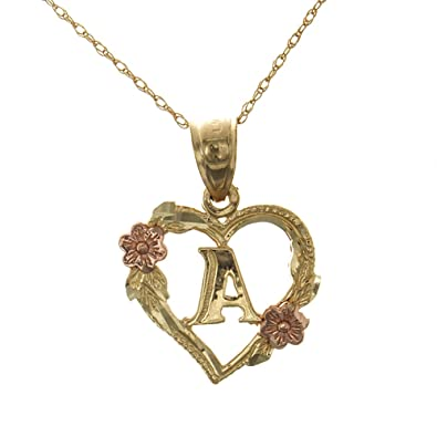 amazon com 14k two tone gold heart necklace charm with chain