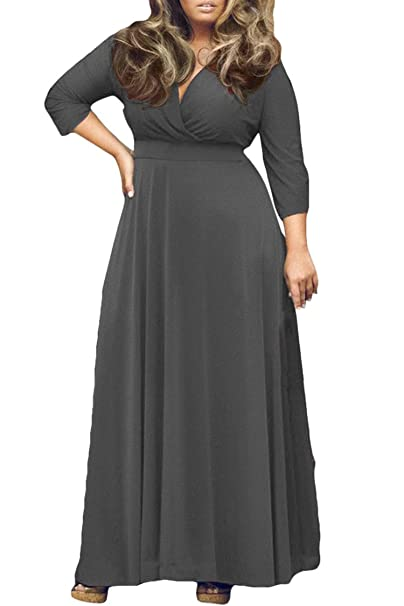 Pink Queen Women\'s Solid V-Neck 3/4 Sleeve Plus Size Evening Party Maxi  Dress