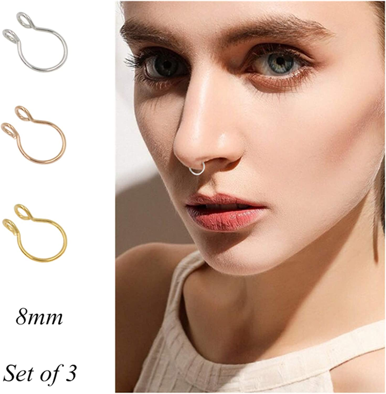 Amazon Com Fake Septum Nose Ring Fake Nose Rings 20g Hoop Nose