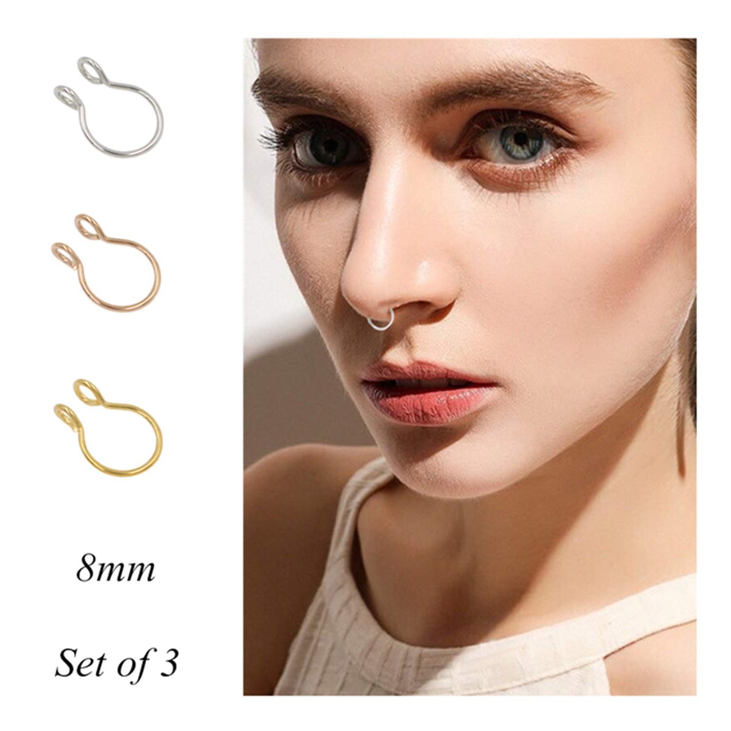 Vcmart Fake Nose Rings Hoop 16pcs Stainless Steel Faux Fake Lip Ear Nose Septum Ring Non Pierced Clip On Nose Hoop Rings Novelty More Body Jewelry Jewelry Piercing Jewelry
