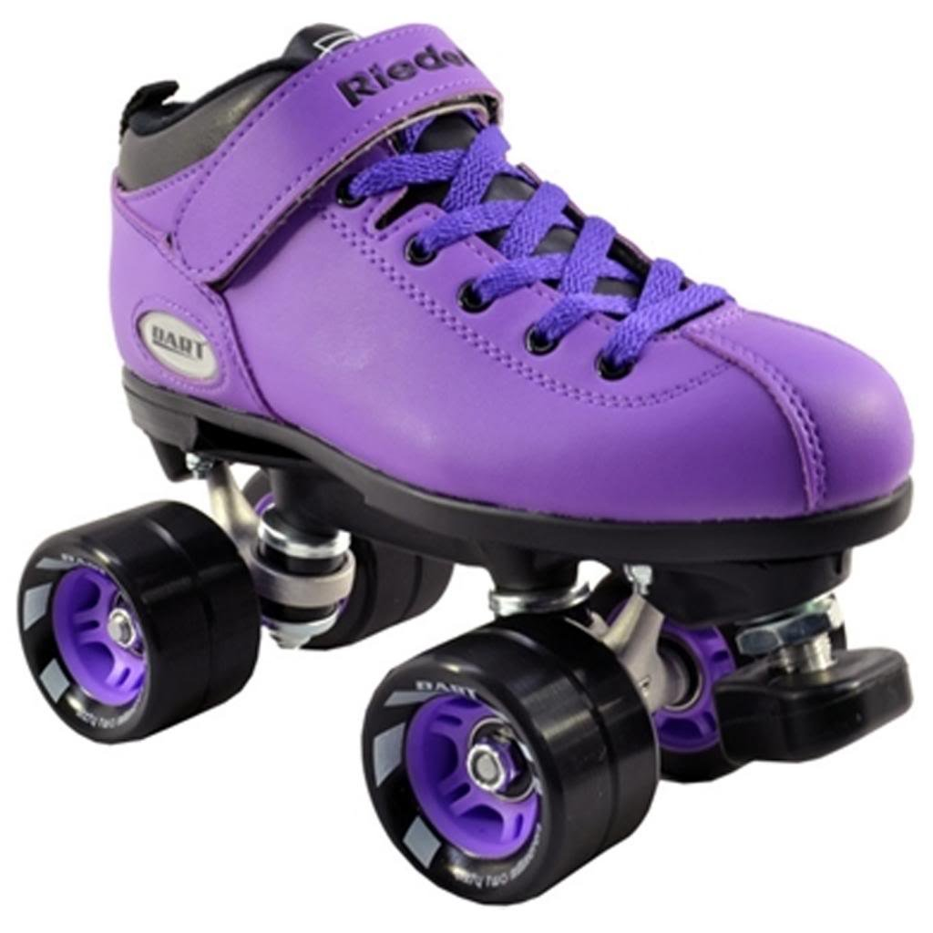 Riedell Dart Purple Quad Speed Skates with Matching Laces for Roller Derby by Riedell