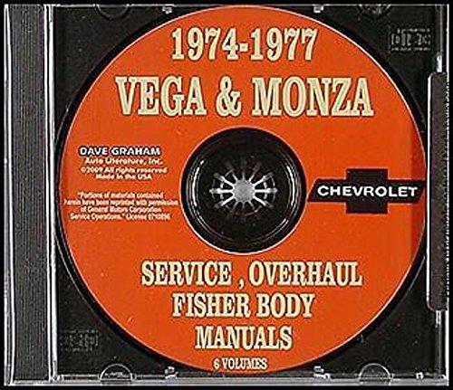 1974 1975 1976 1977 CHEVROLET VEGA & MONZA REPAIR SHOP & SERVICE MANUAL CD Includes all Models