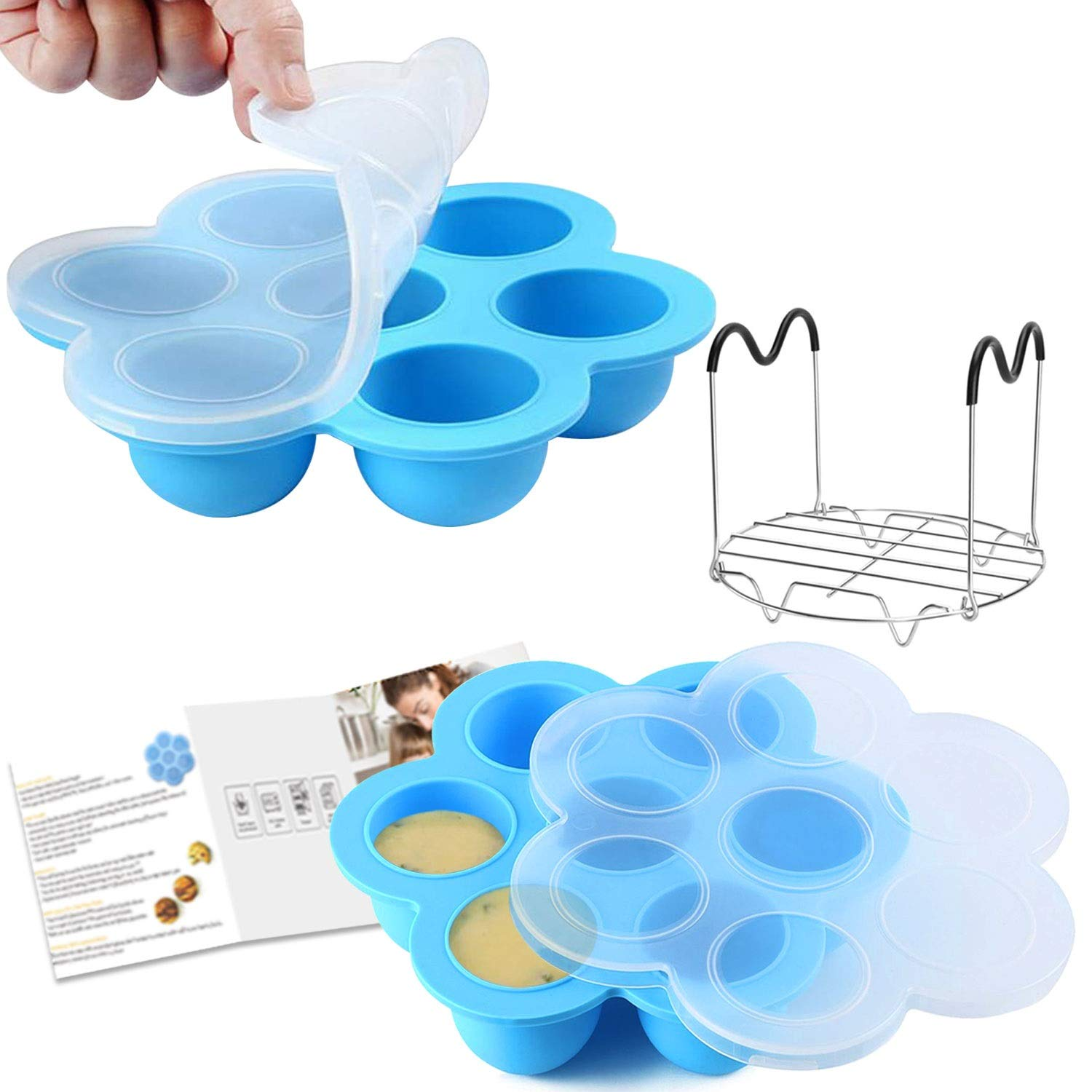 Voloop Silicone Egg Bites Molds and Steamer Rack Trivet with Silicone Handles Compatible with Instant Pot Accessories Instant Pot Accessories 6Qt or 8Qt Pressure Cooker, Freezer Accessory(3Pcs/Set)
