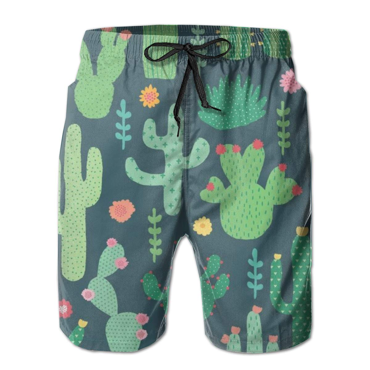 HJSHD Desert Cactus and Flower Green Pattern Board Short Quick Dry Swim Trunks 3D Printed Non-Fading Tropical Short