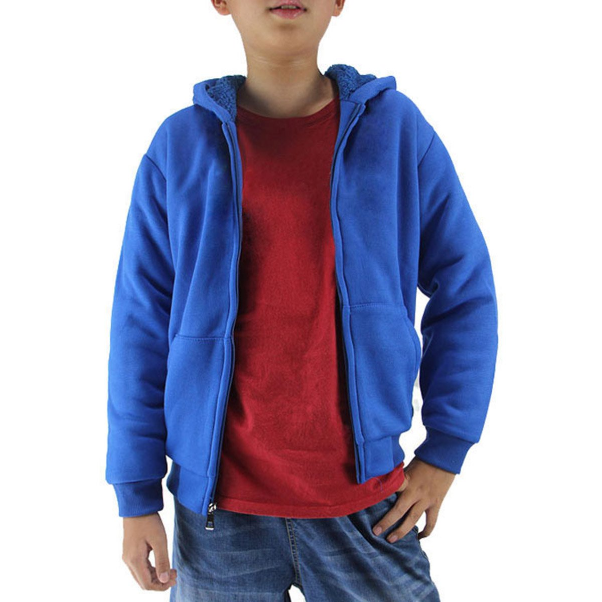 Eurogarment Youth Full Zip Sherpa Lined Fleece Hoodie for Boys Winter Warm Outdoor Sweatshirts with Pouch Pocket