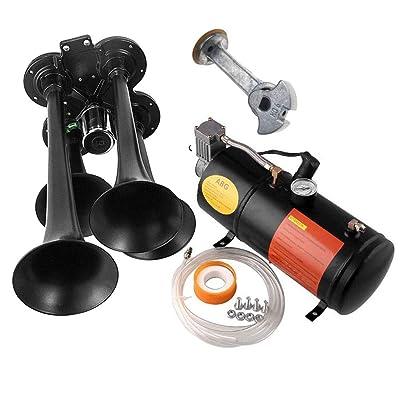 ASMAHAN Train Air Horns Kit for Trucks, Train Horn kit with 4 Trumpet Train Horn Or Air Horn, Air Horns or Train Horns, Air Tank, Air Compressor: Automotive