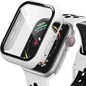 Dafill for Apple Watch Case 42mm Series 3/2/1 with Tempered Glass Screen Protector, Hard PC All Around Protective Cover Lightweight Ultra-Thin Bumper Compatible for iWatch 42mm - White/Black