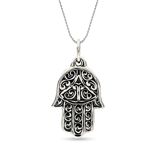 Engagement & Wedding Other Wedding Jewelry 925 Sterling Silver Large Filigree Womens Evil Eye Hamsa Pendant Necklace With A Long Standing Reputation
