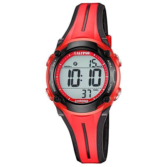 Calypso hombre-reloj deportivo digital de mujeres PU-brazalete rojo y negro cuarzo-