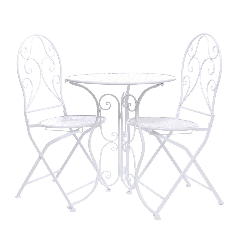 Set tavolo e 2 sedie, in ferro bianco KASANOVA