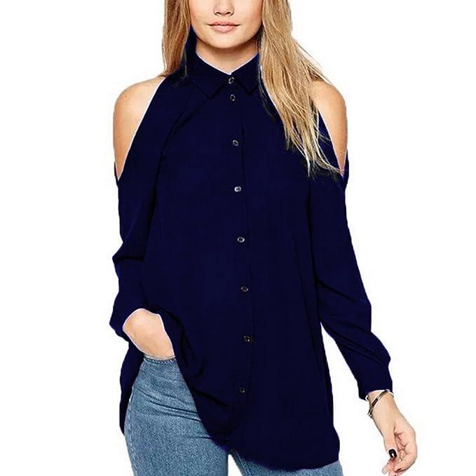 Juleya Camisetas Tamaño Más Blusas Mujer Camisas Atractivas Top Sin Tirantes Blusa Gasa Camisetas Manga Larga
