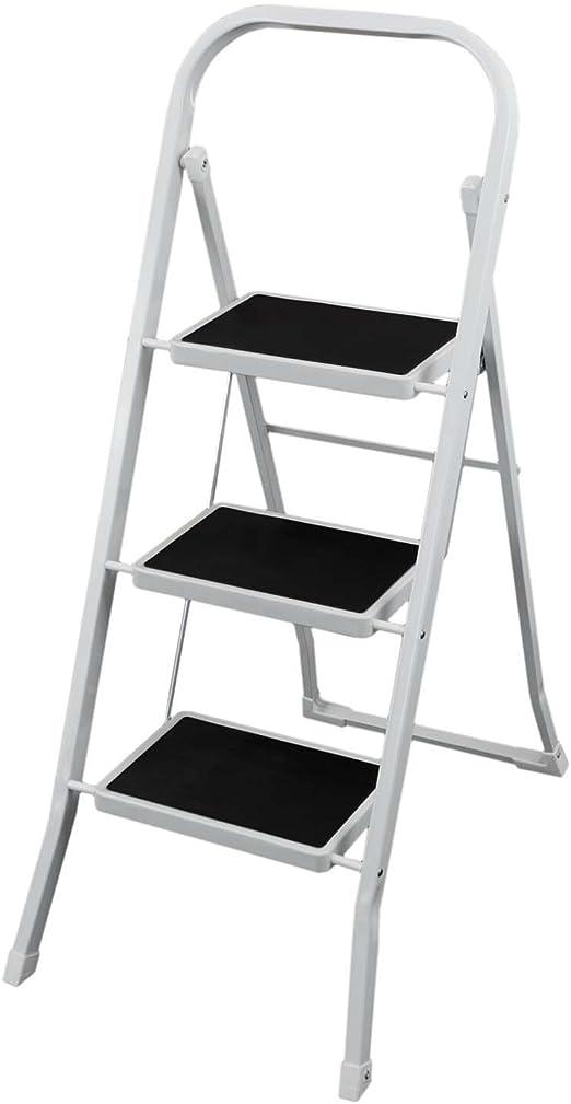 Escalera de mano de 3 niveles de color blanco de plástico con cojines Escalera Acero Szagato – Escalera escalera escalera multiusos Escalera de 3 peldaños con taburete: Amazon.es: Hogar