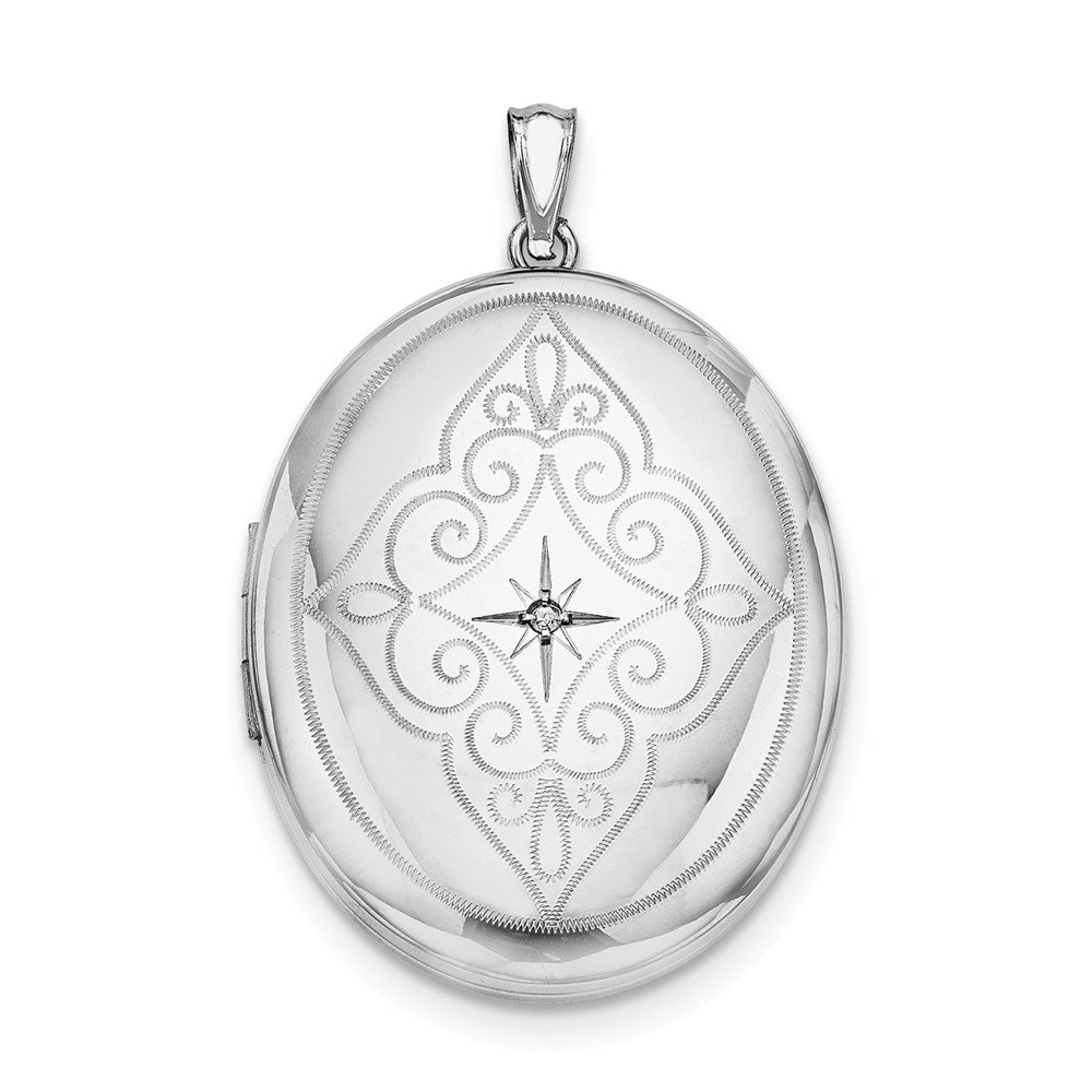 Sterling Silver Polished Patterned Holds 2 photos and Diamond Center With Swirls 34mm Oval Locket