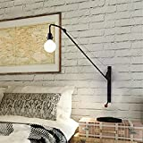 JINGUO Lighting Wall Sconce Industrial Vintage Art Wall Light Open Bulb Style with Adjustable Arm Swing-arm Wall Lamp Black