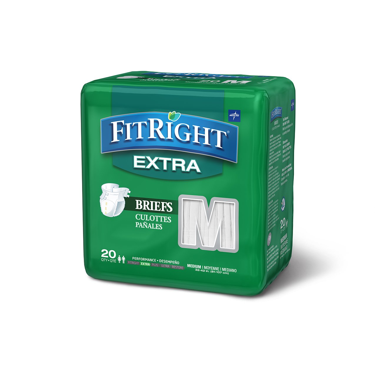 FitRight Extra Adult Briefs with Tabs, Moderate Absorbency, Medium, 32''-42'', 4 packs of 20 (80 total)
