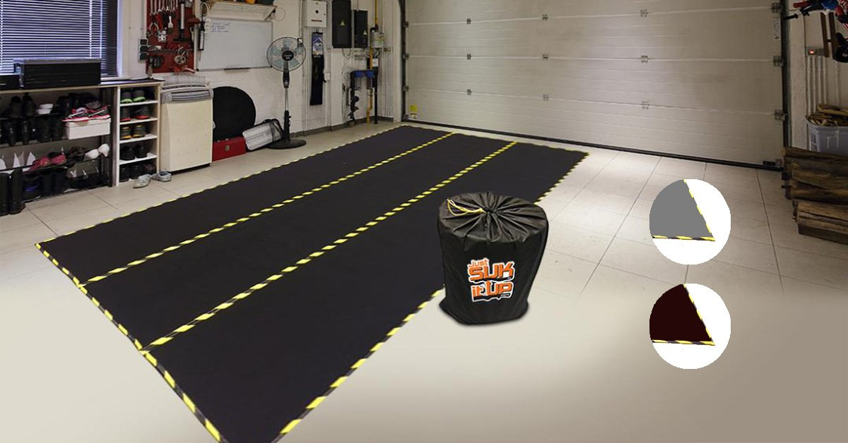 Just Suk It Up.com, Garage Mat, All-Season Full-Floor Size, 8FT x 14FT x 1/2-IN Thick, Black (Also Available in Grey and Brown Colors) Just Suk It Up Limited
