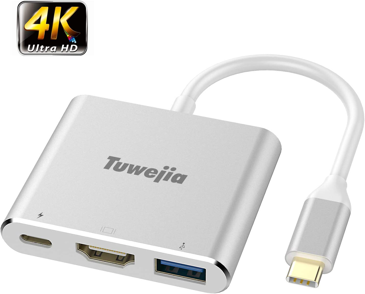 USB C to HDMI Multiport Adapter Tuwejia USB 3.1 Gen 1 Thumderbolt 3 to HDMI 4K Video Converter/USB 3.0 hub Port PD Quick Charging Port with Large Projection for 2015/16/17/18 MacBook/MacBook Pro/Chr