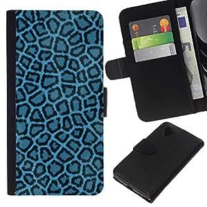 KLONGSHOP // Tirón de la caja Cartera de cuero con ranuras para tarjetas - Patrón Leopard Azul Tela Tela Wallpaper - LG Nexus 5 D820 D821 //