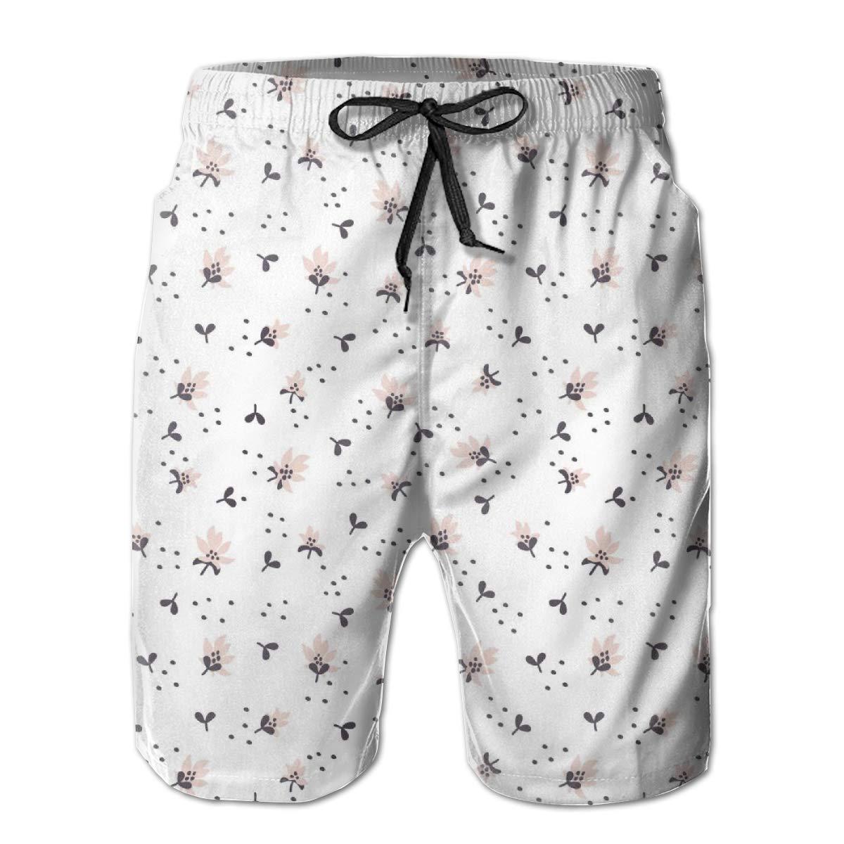 Yeates Flower Mens Swim Trunks Quick Dry Fashion Jasmine Pattern Printed Summer Beach Shorts Board Beach Short