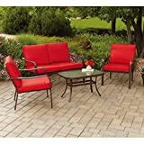 Modern and Contemporary Backyard and Outdoor Patio Bistro Wicker Set Collection (All Sizes) with Bonus Basically Simple Storage Bin (4-pc Set, Mainstays Stanton Conversation Set (Red))