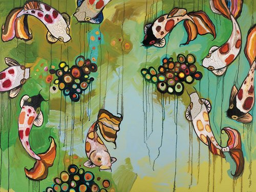 GreenBox Art + Culture Canvas Wall Art Koi Fish by Eli Halpi