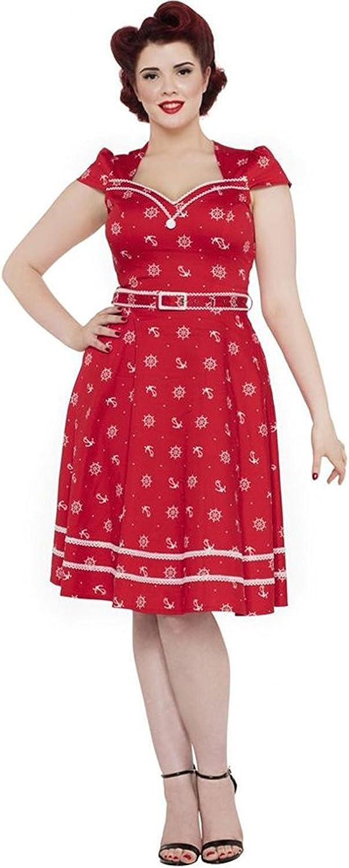 Sailor Dresses, Nautical Theme Dress, WW2 Dresses Voodoo Vixen Womens Leslie Wheel and Anchor Flare Dress Red $89.95 AT vintagedancer.com