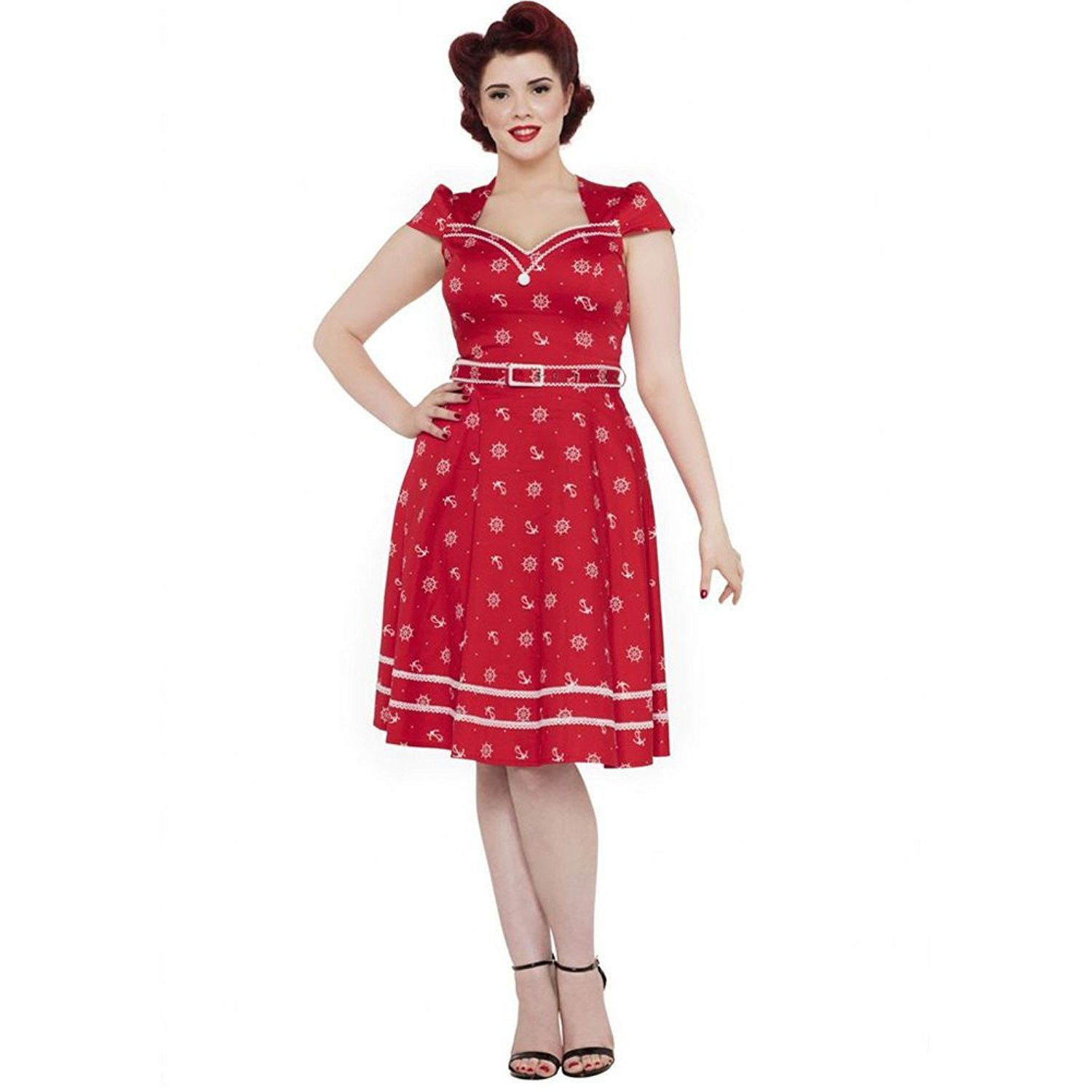 1950s Dresses, 50s Dresses | 1950s Style Dresses Voodoo Vixen Womens Leslie Wheel and Anchor Flare Dress Red $89.95 AT vintagedancer.com