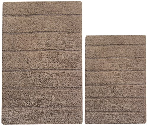 Latex Mocha Brown (Chardin home 100% Cotton two Piece New Cordural Solid Bath Rug Set, (20''x32'' & 17''x24'') with anti-skid spray latex back, Mocha Brown.)