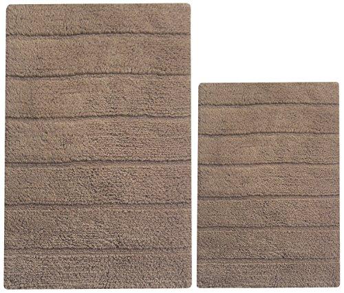 Brown Latex Mocha (Chardin home 100% Cotton two Piece New Cordural Solid Bath Rug Set, (20''x32'' & 17''x24'') with anti-skid spray latex back, Mocha Brown.)