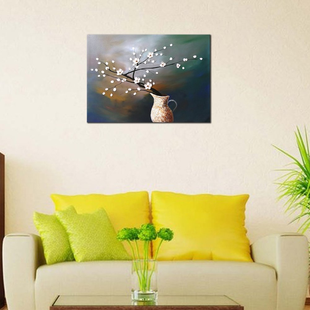 Amazon.com: Wieco Art Plum Blossom Floral Oil Paintings Canvas Wall ...