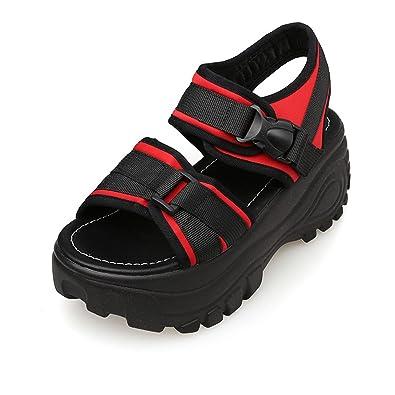 Damen Sandalen Klettverschluss Plateau Dicke Sohle Römische Stil Freizeit  Sommer Schuhe Rot 39 EU f31914242a