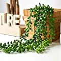 2 Pcs hanging Artificial Succulent Plants 28 inch Hanging Basketplant, Lover Tears Plants artificial hanging string of pearls plant fake succulent , String of Pearls