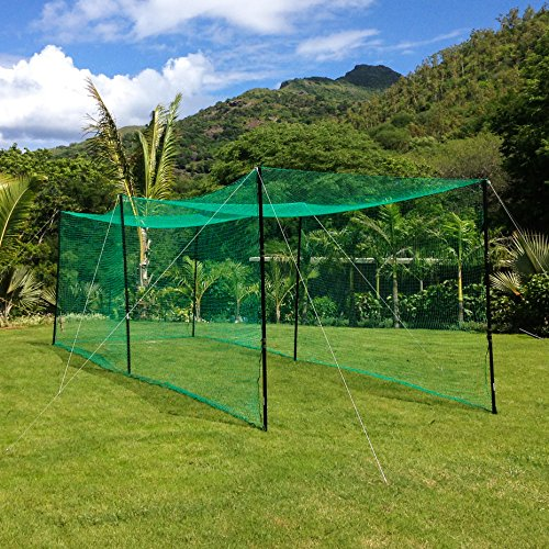 Ultimate Baseball Batting Cage [Net & Poles Package] - #42 Heavy Duty Net with Steel Uprights [Net World] 24hr Ship - (20', 35', 55', 70') (55' Batting Cage Package)