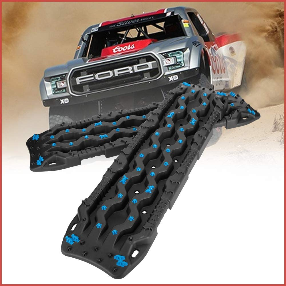 DEFEND INDUST Traction Boards Recovery Traction Tracks 2 Pcs Black Traction Mat for Sand Mud Snow Track Tire Ladder 4X4