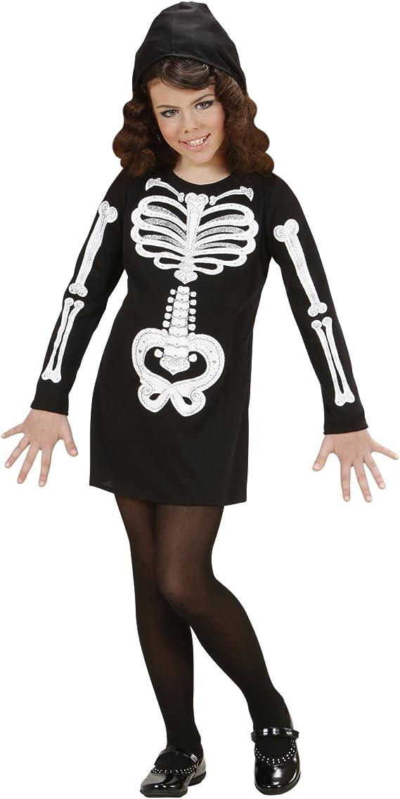 WIDMANN Disfraz Halloween Esqueleto para niña y niña * 22050 Negro ...