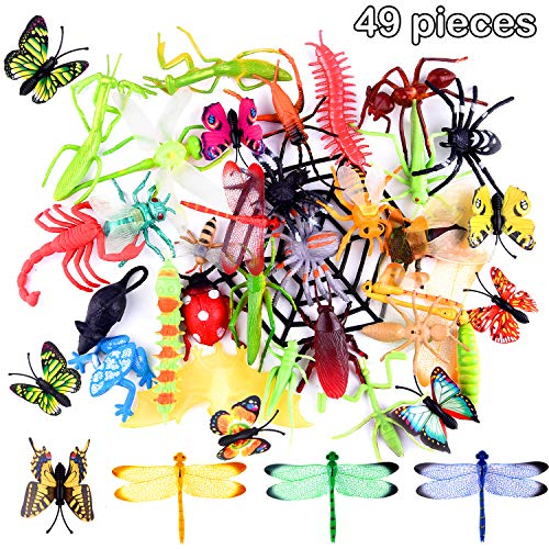 TUPARKA 49 PCS Plastic Insect Bugs Figure Toys Assorted ,Lifelike Insects Butterfly Beetle Dragonfly Model Gag Toys for Children Favors School Educational Toys, Insect Party Bag Fillers ()